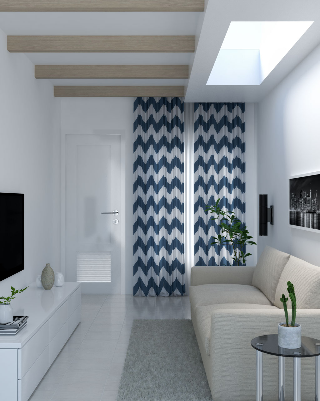 Zigzag pattern blue and white curtains