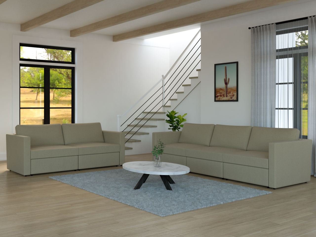 Living room with L-shaped arrangement of sofa and loveseat
