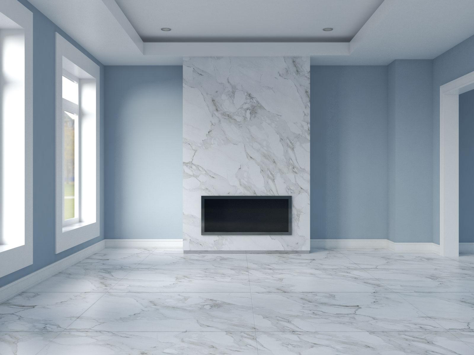 Aleutian walls with white carrara marble