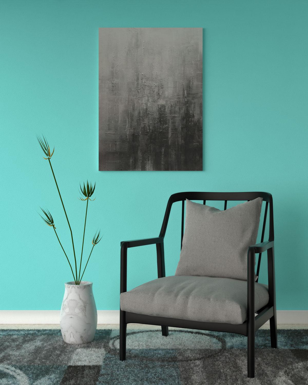 Aqua wall with gray artwork