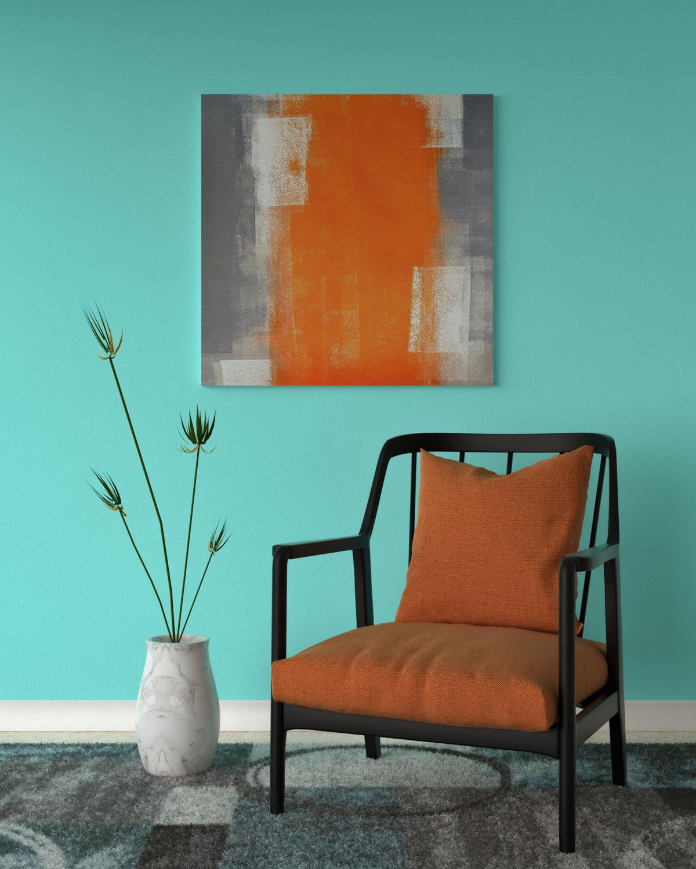 Aqua wall with tangerine orange accents