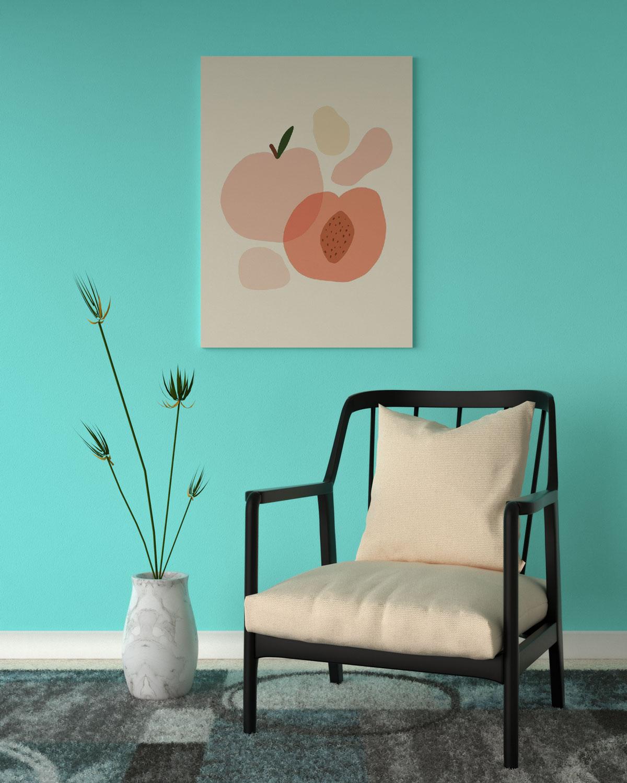 Aqua accent wall with peach decor