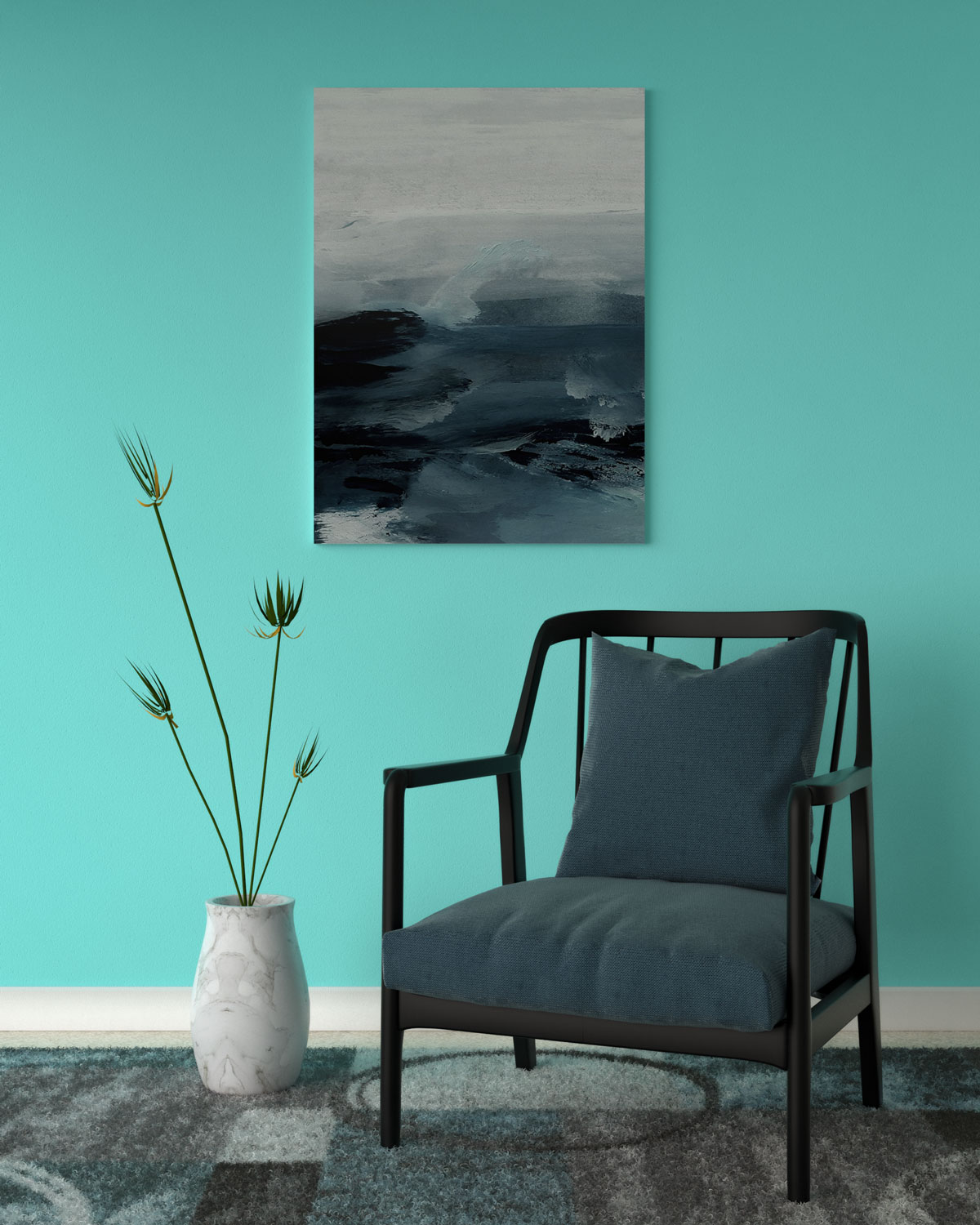Aqua wall with bluish-gray accent