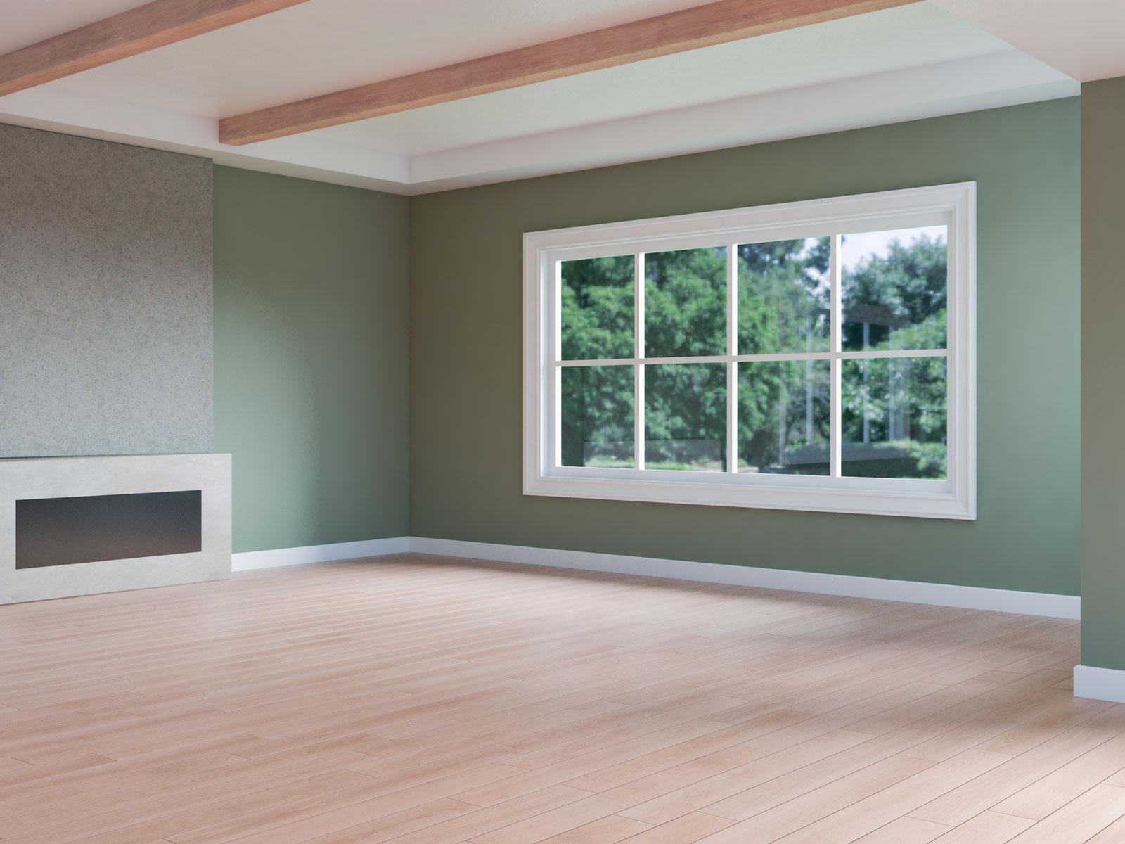 Artichoke walls inside a room with red oak flooring