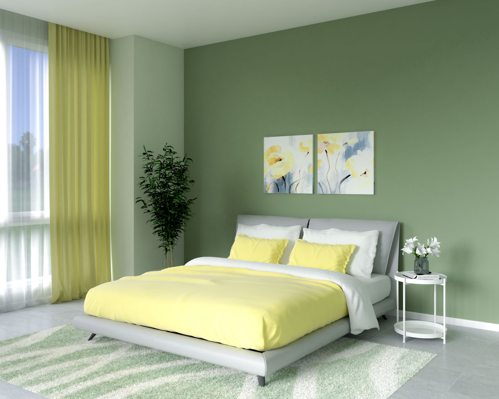 Olive bedroom with yellow bedding