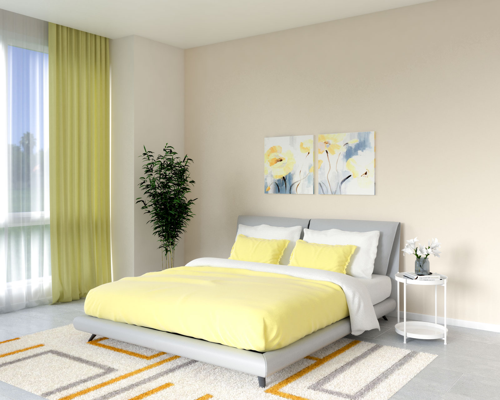 Beige and yellow bedroom ideas