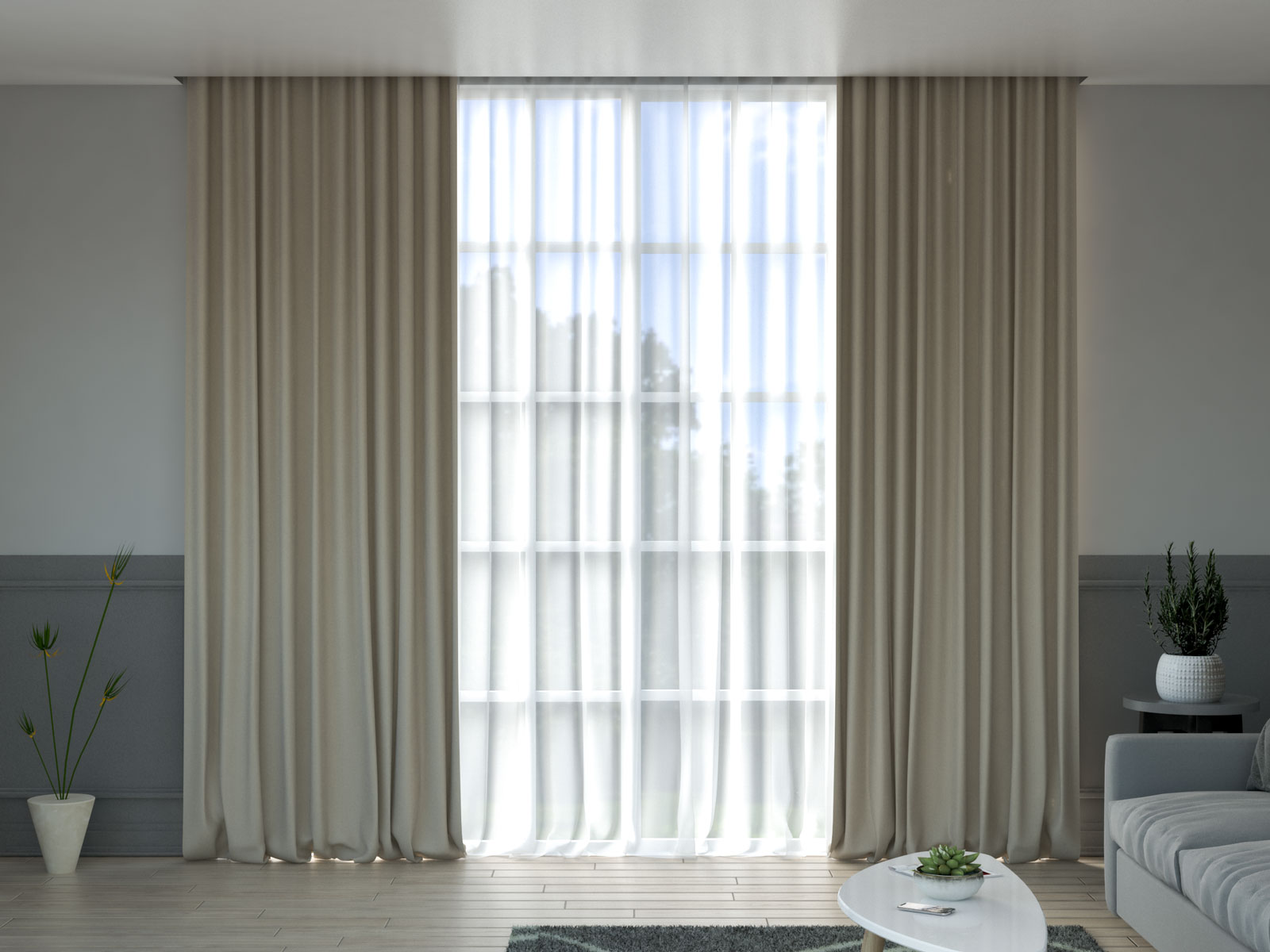 Beige curtains with grey walls