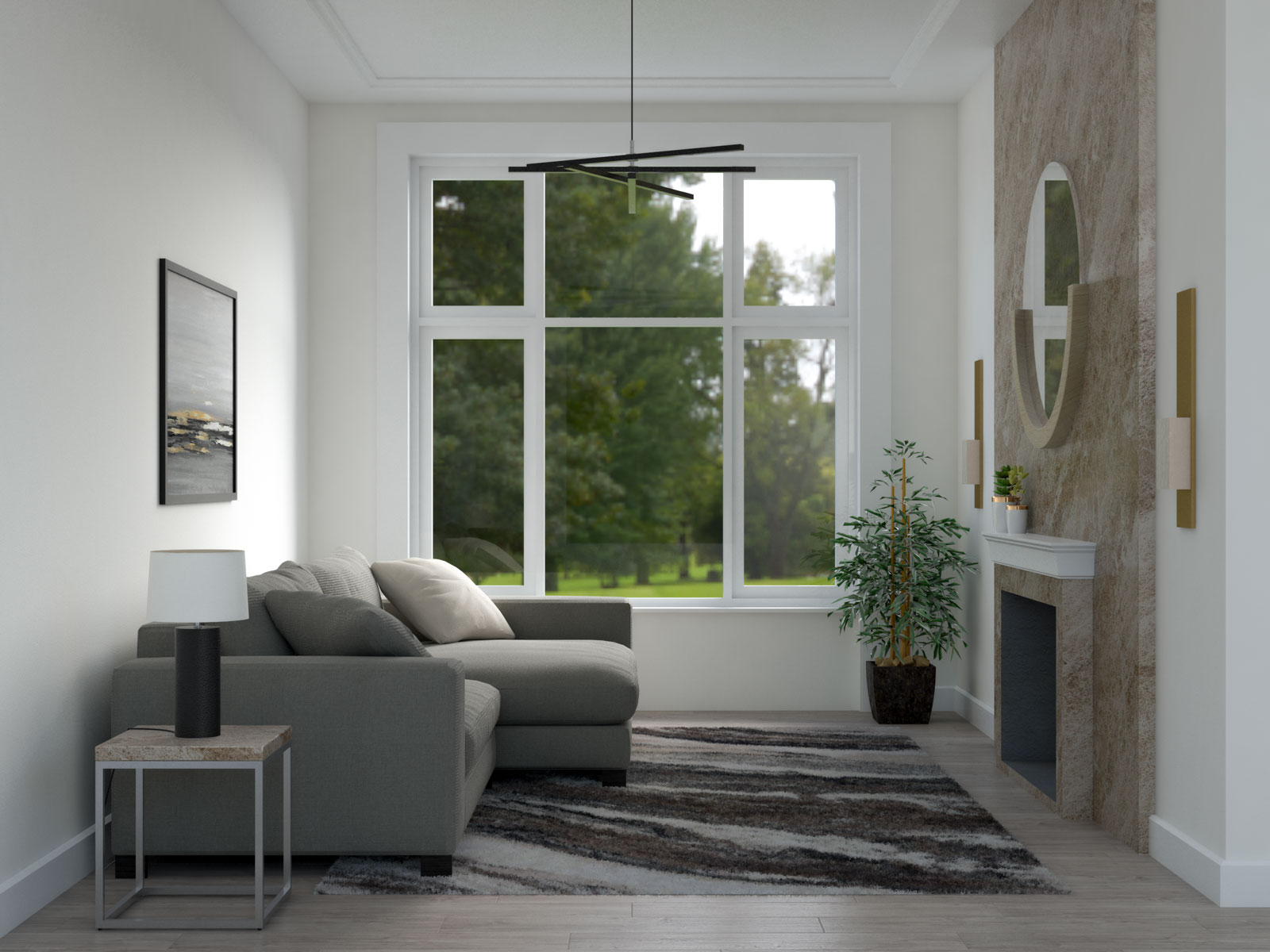 Abstract brown rug in small living room
