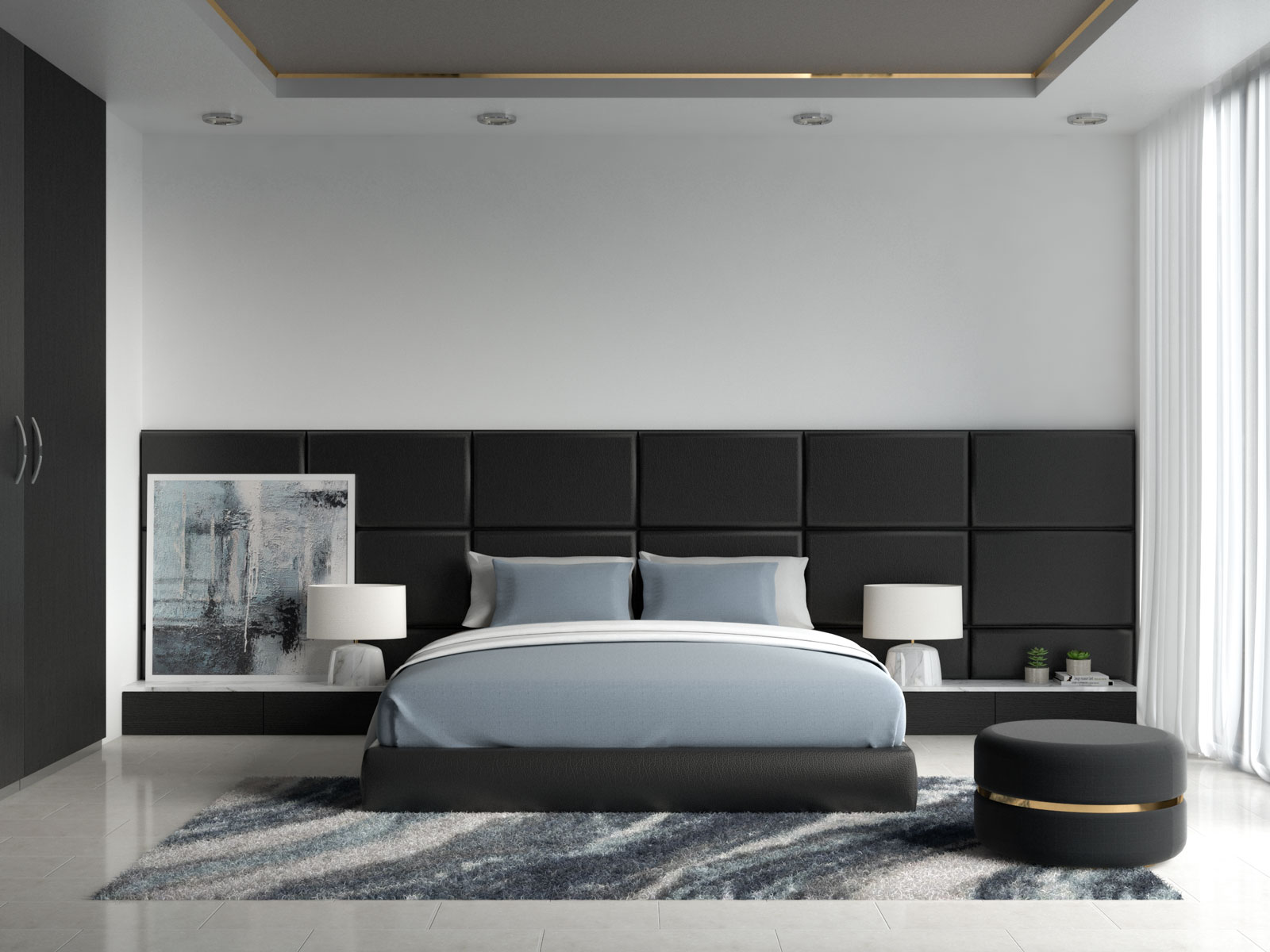 Dusty blue bedding with black bedroom furniture