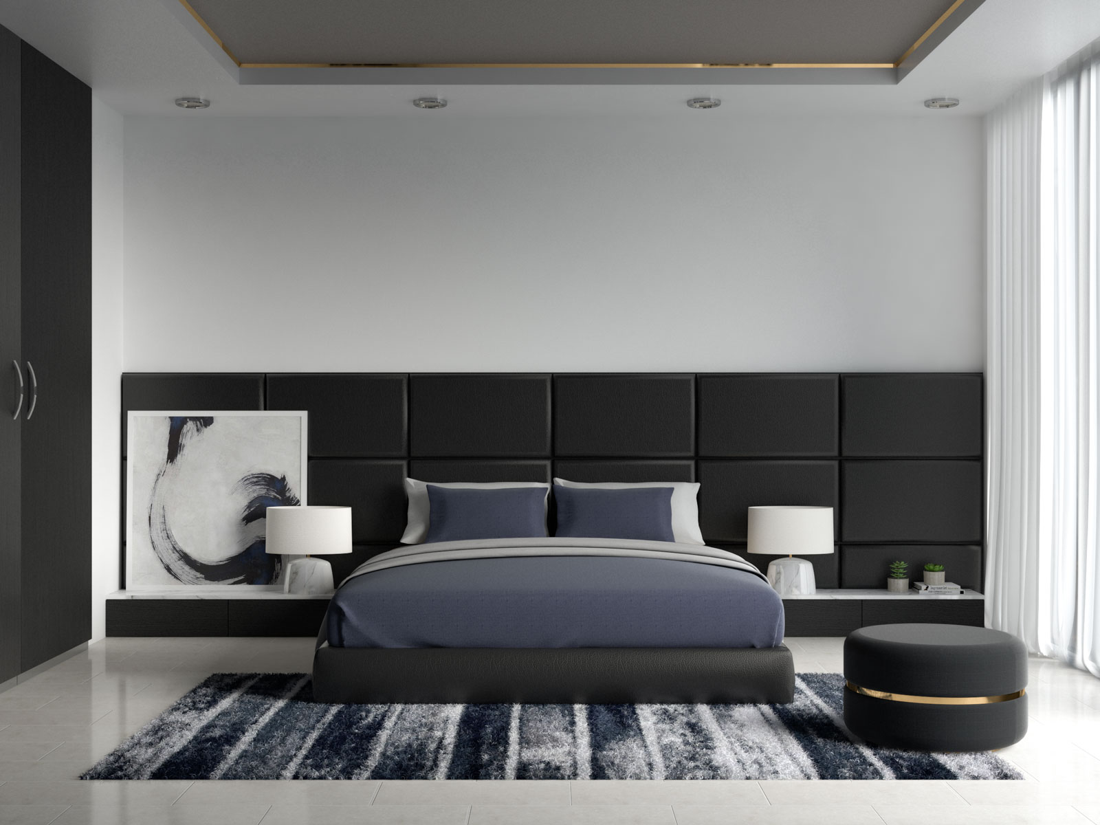 Navy bedding inside black bedroom