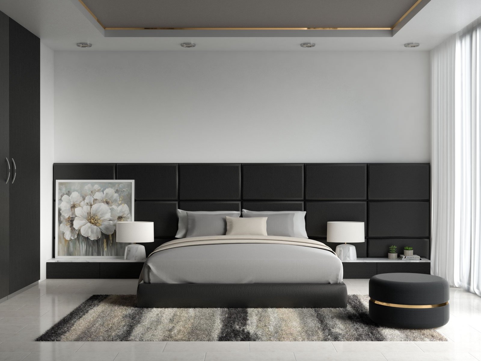 Gray and beige bedding with black bedroom furnishings