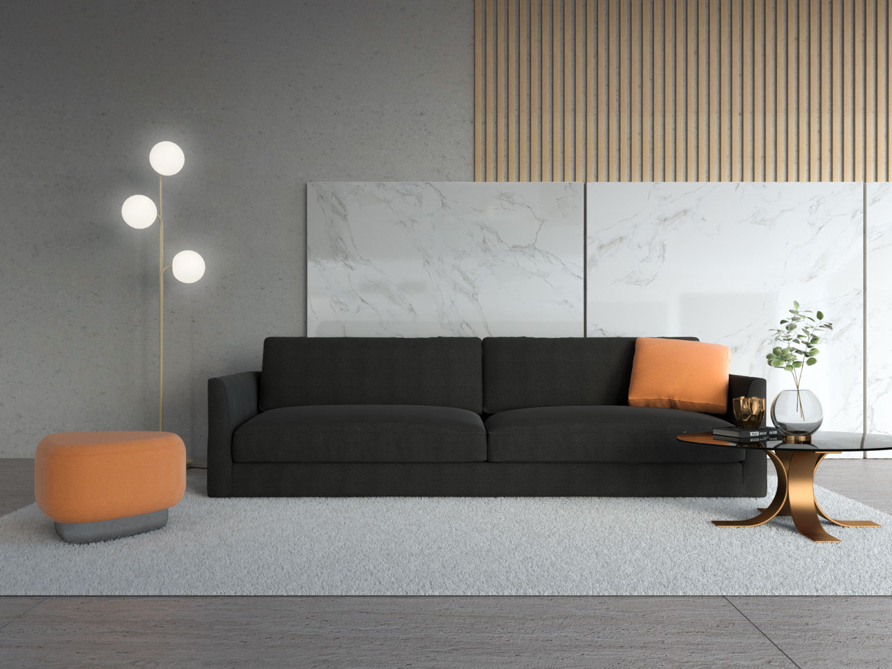 Peach ottoman with black couch