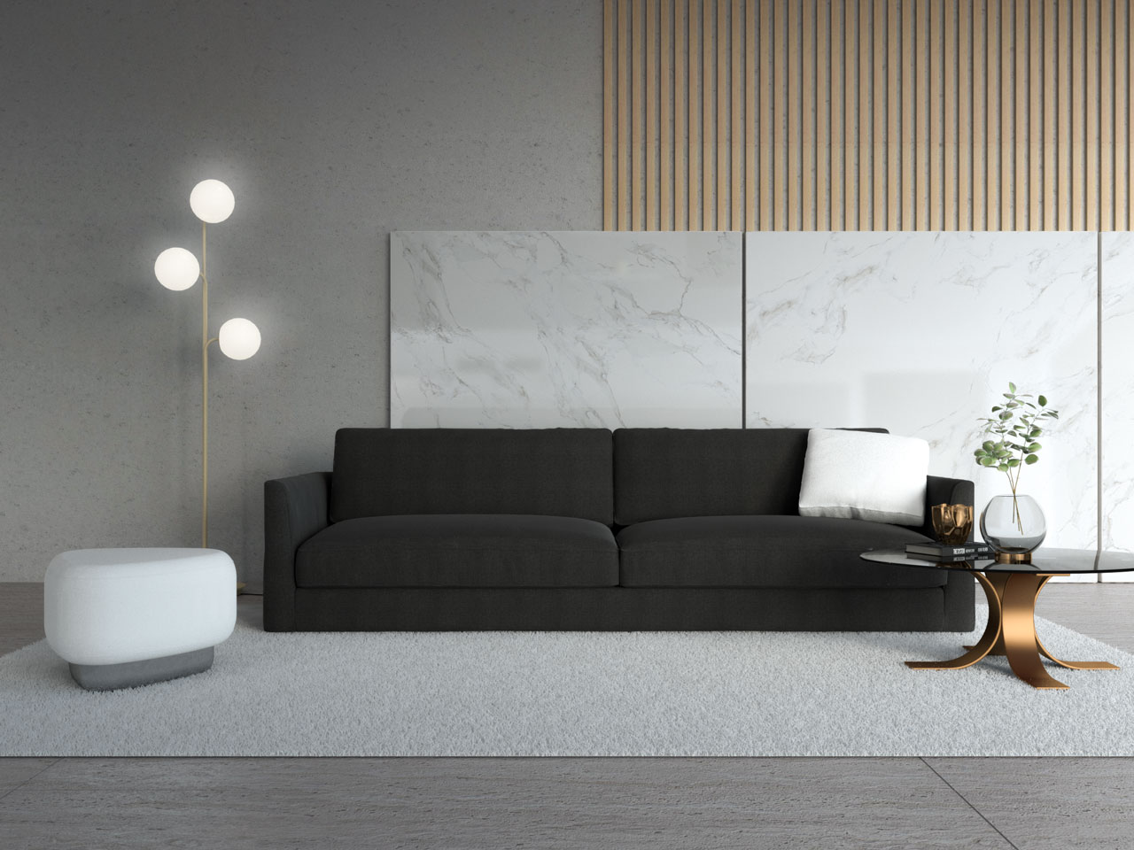 Black couch with white ottoman
