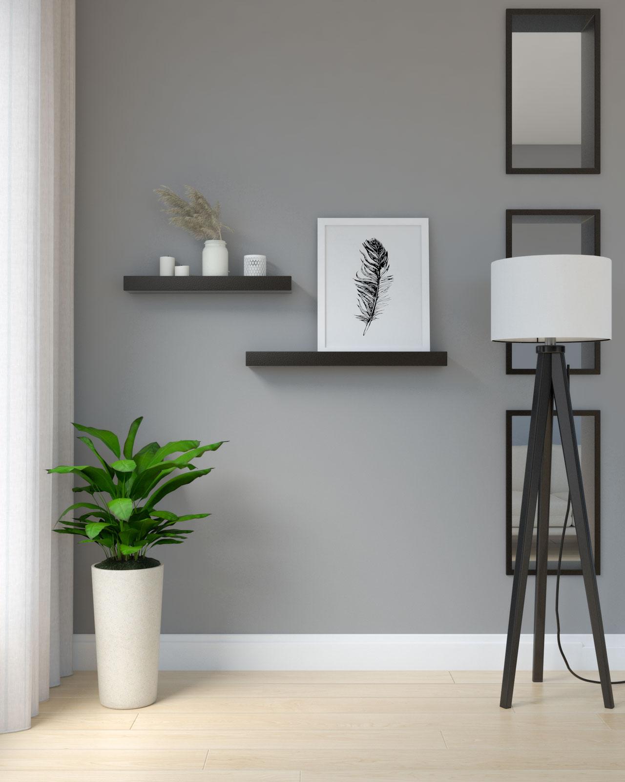 Black shelves on gray wall