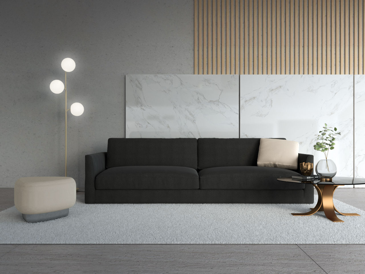 Beige ottoman with black couch