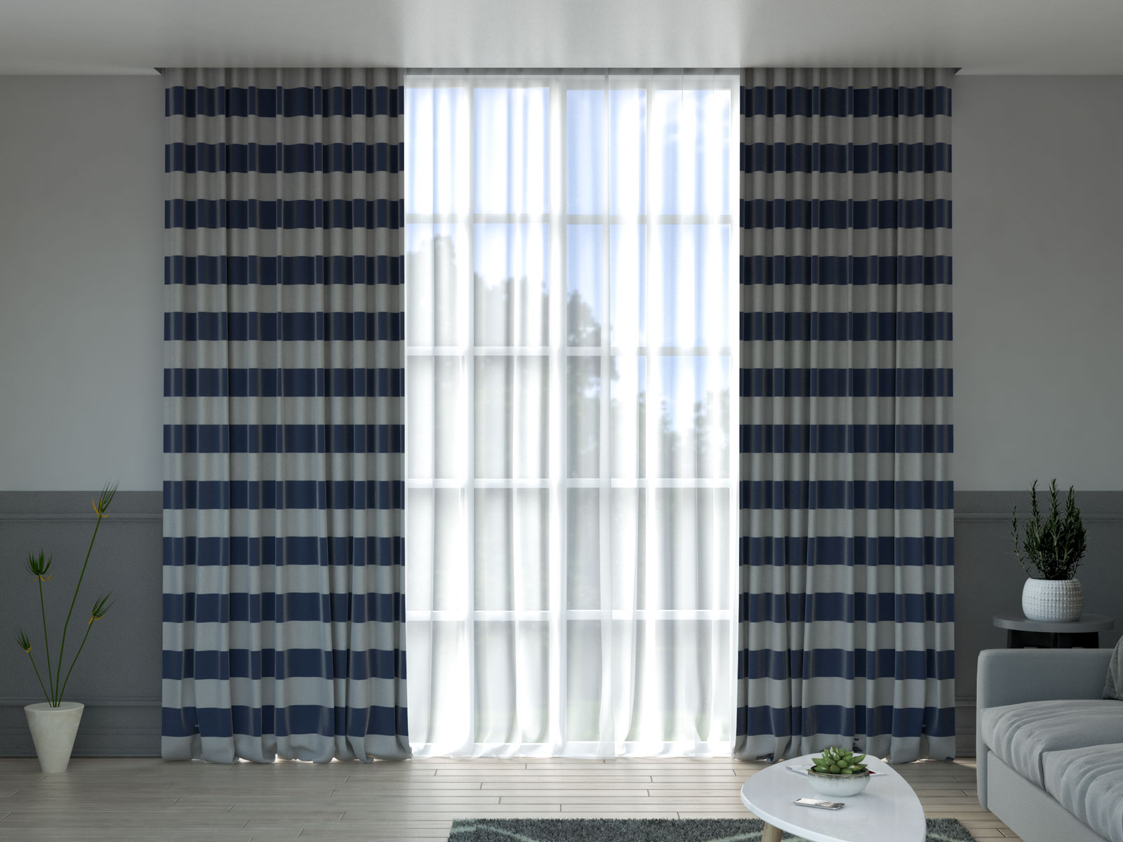 White and navy curtains with gray walls