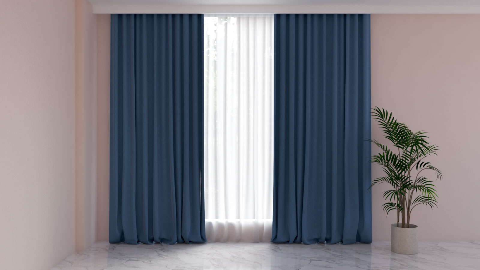 Azure blue curtains with pink walls