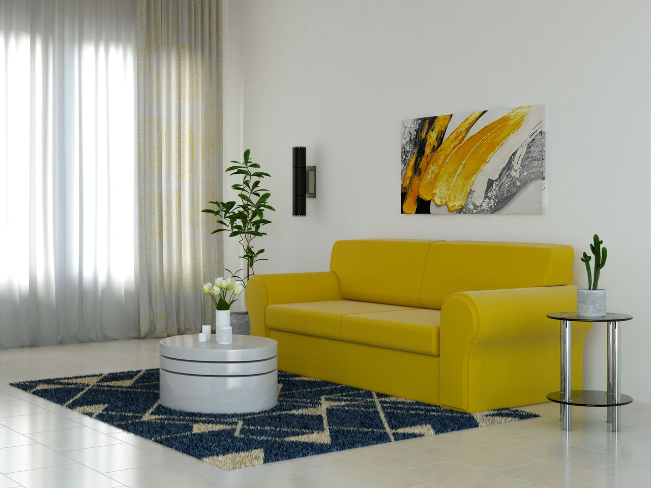 Yellow living room with blue accents
