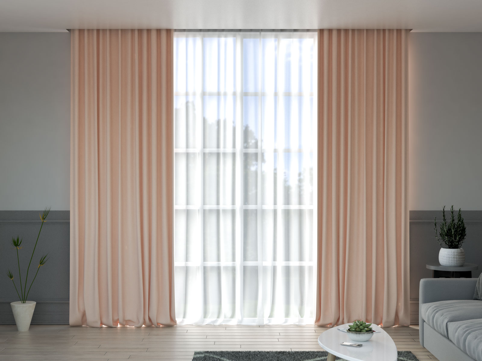 Blush curtains with gray walls
