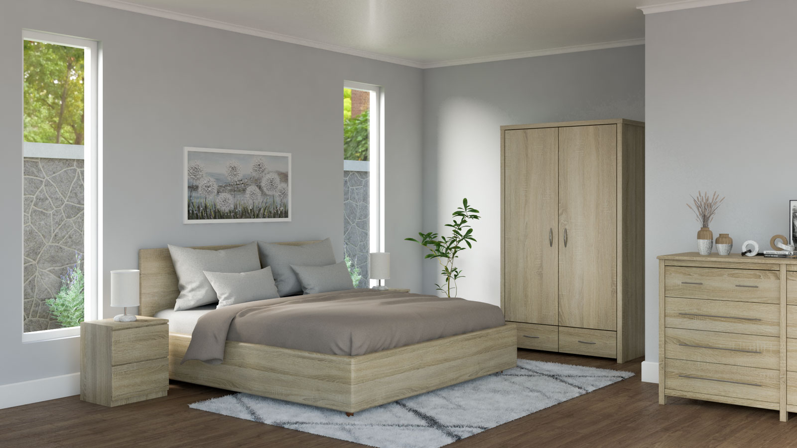 Gray and brown bedding with oak furniture