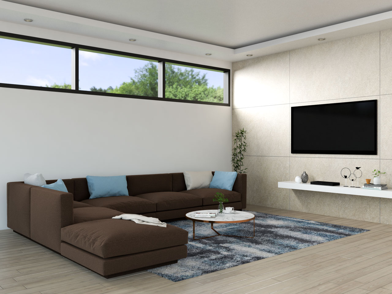 Brown sofa with light blue accents