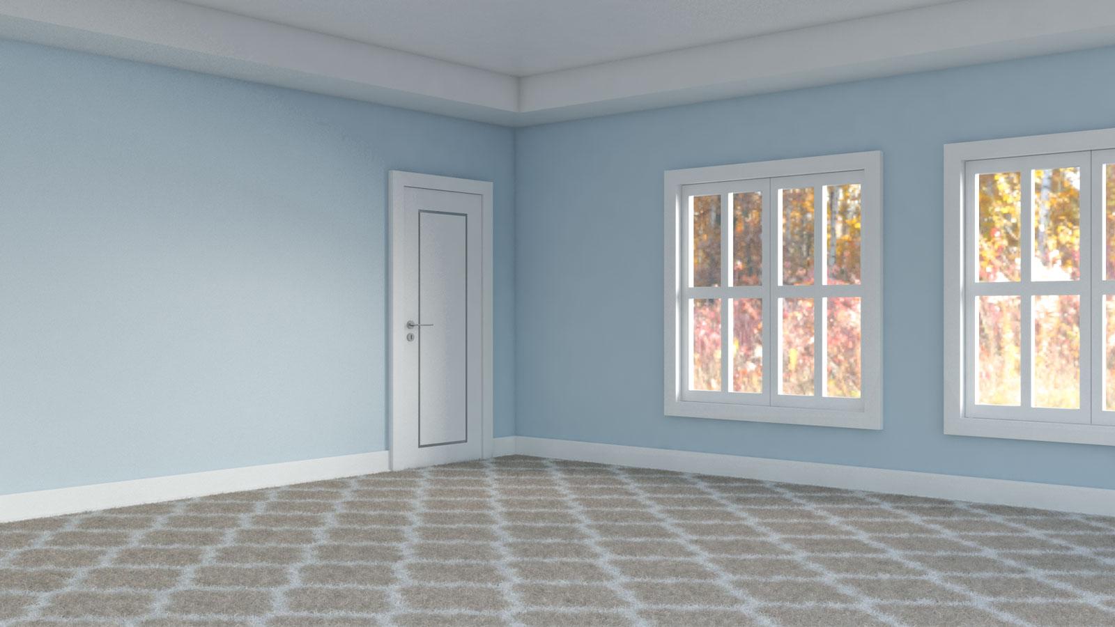 Brown and white carpet inside light blue room