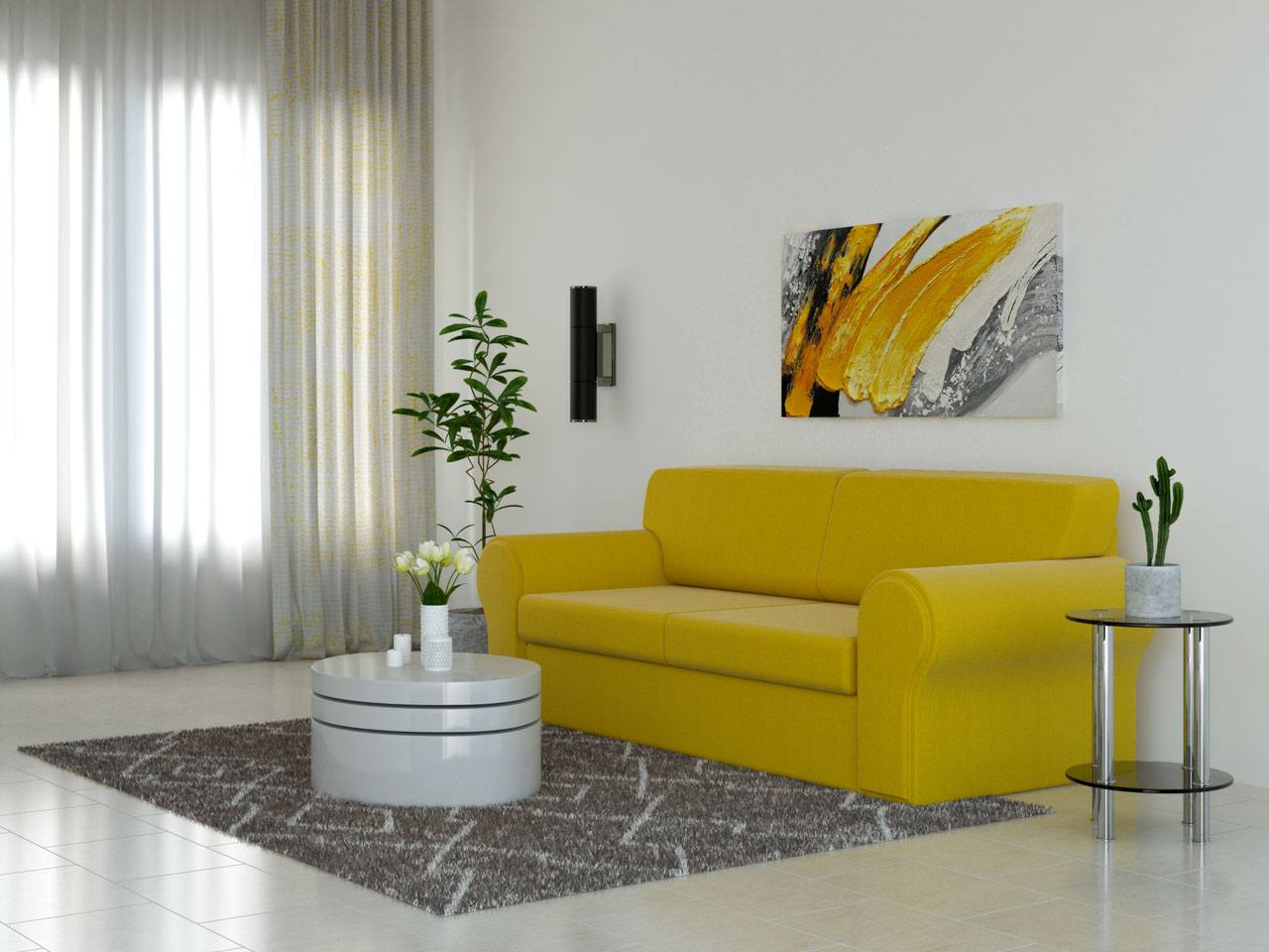 Brown rug with yellow couch