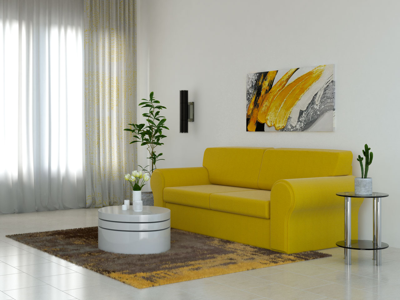 Brown and yellow rug with yellow couch