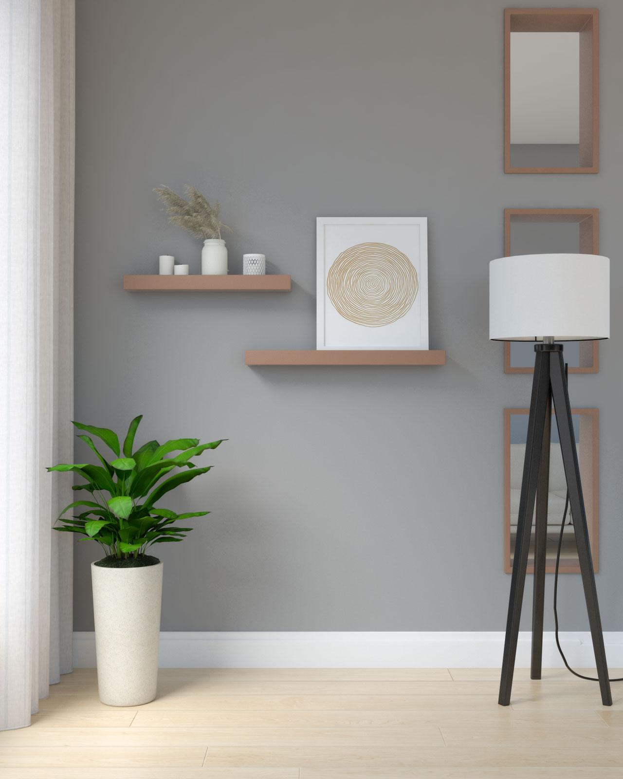 Brown shelves on gray walls