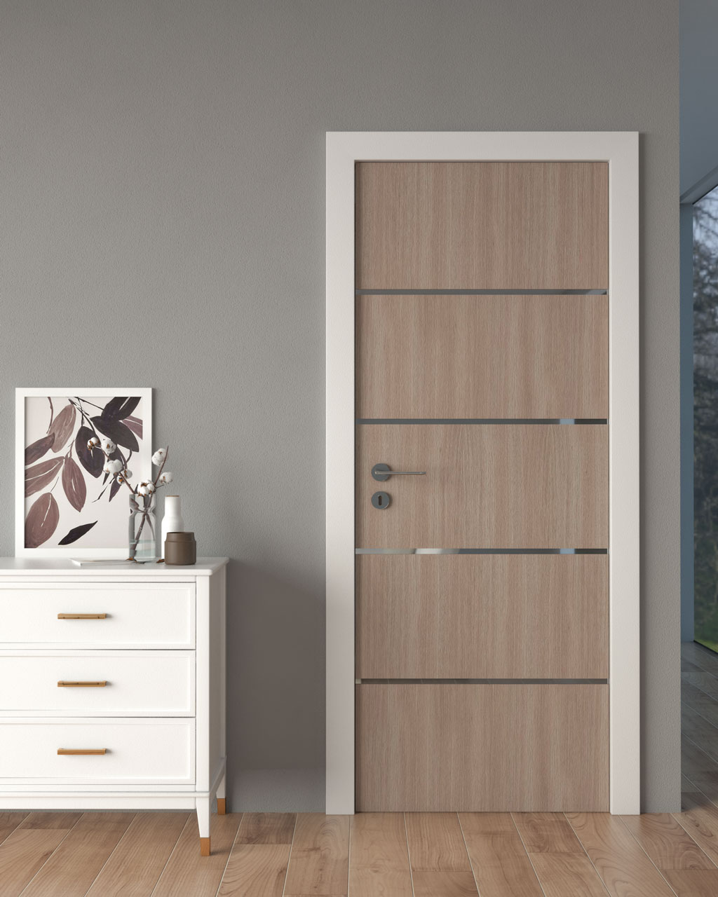 Brown wooden door with gray walls