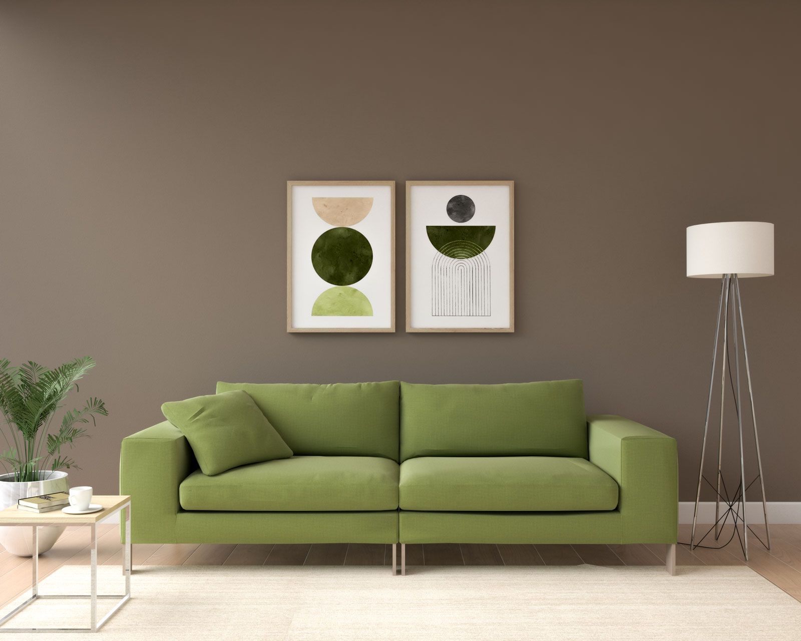 Olive green sofa with cedar brown wall