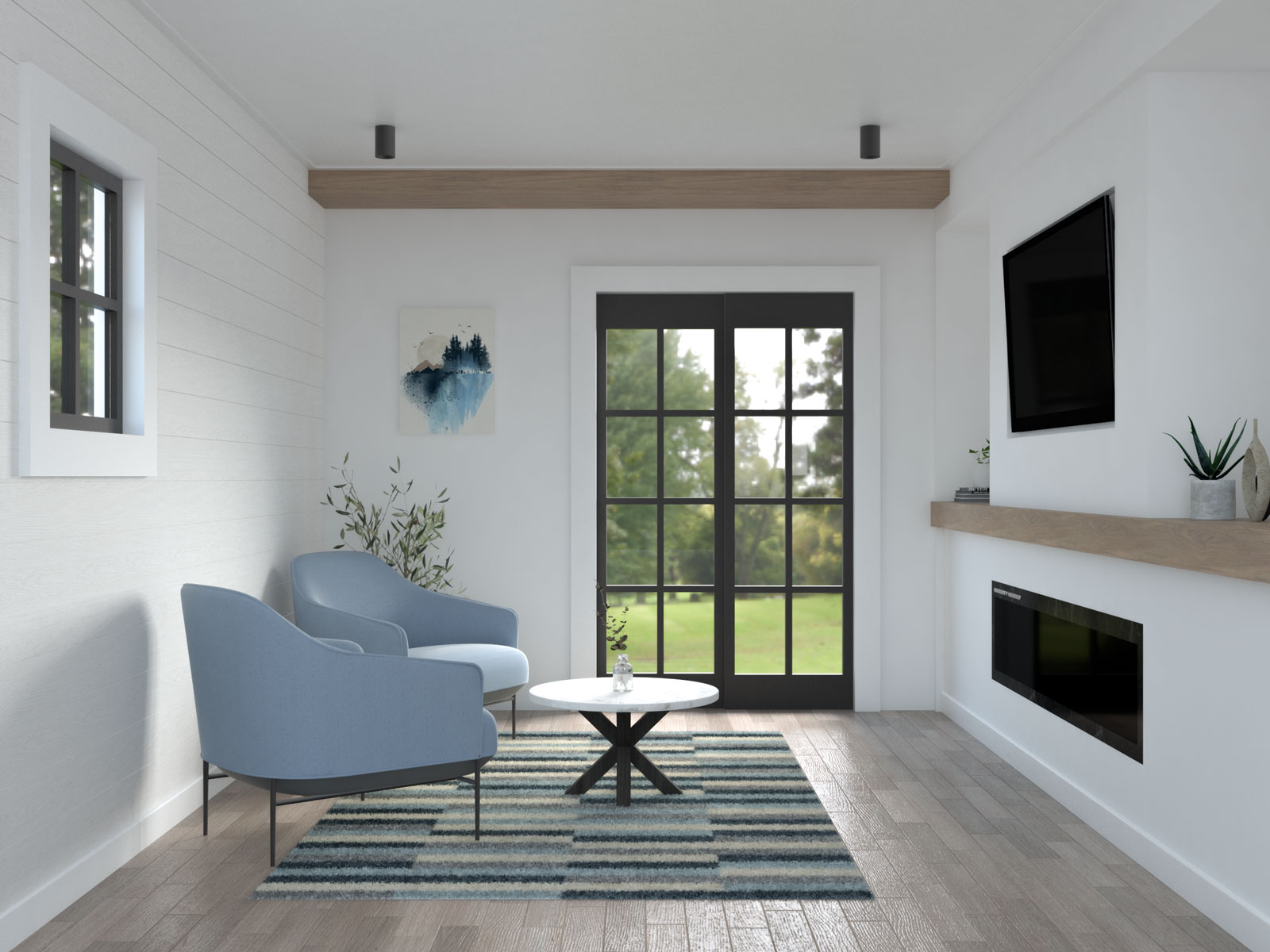 Small living room with two accent chairs