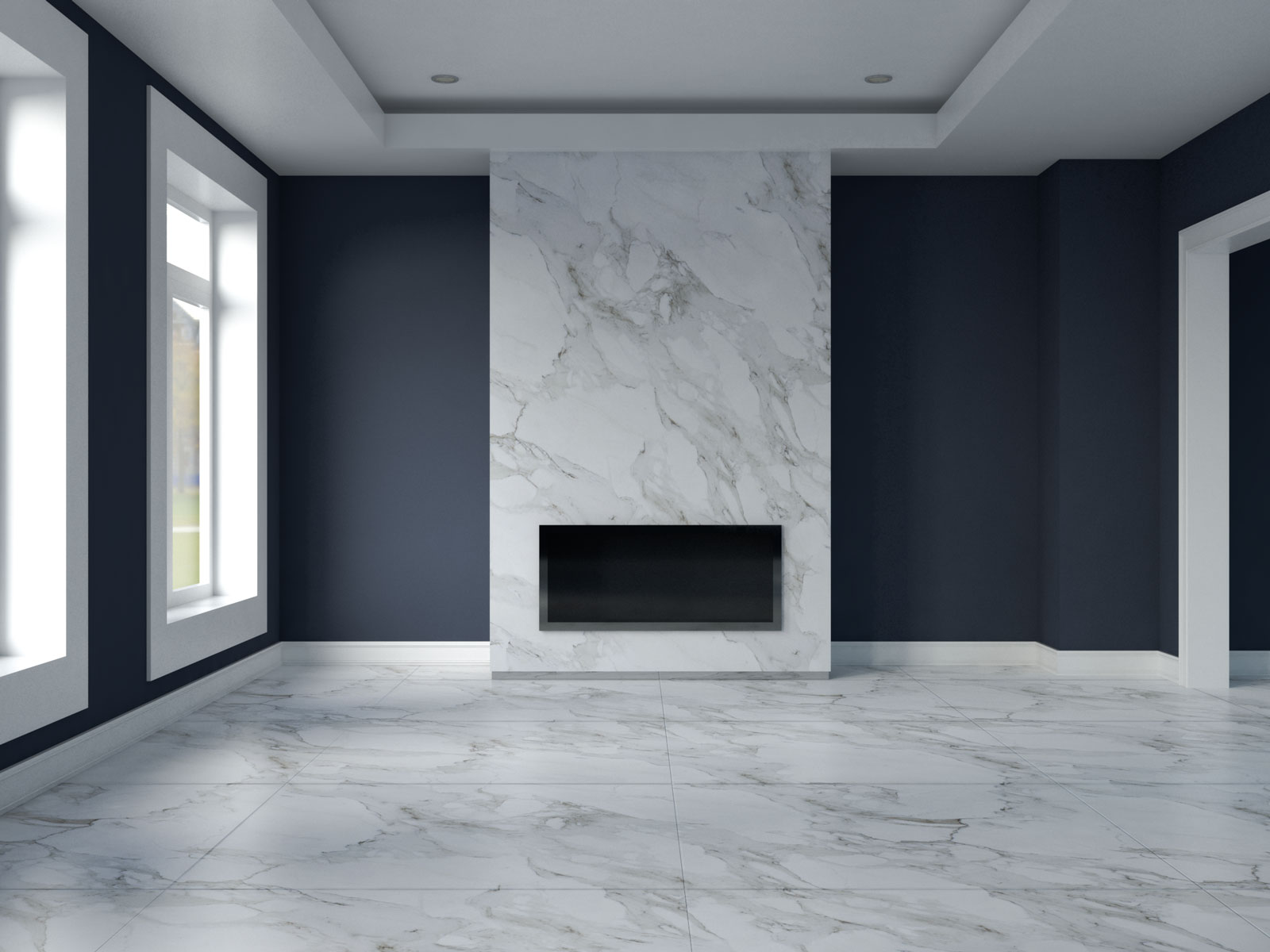 Charcoal blue with marble flooring