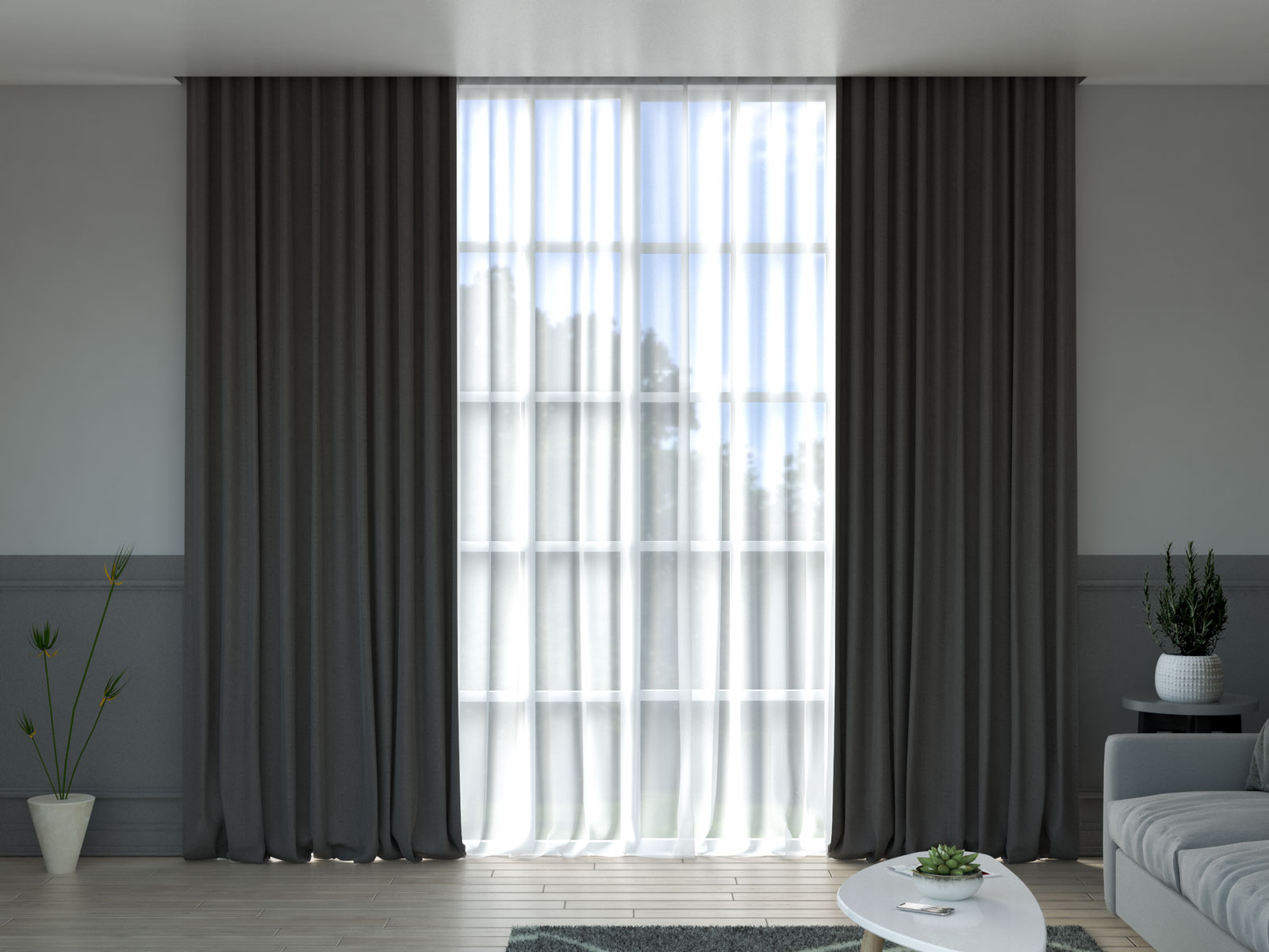 Charcoal curtains with gray wall