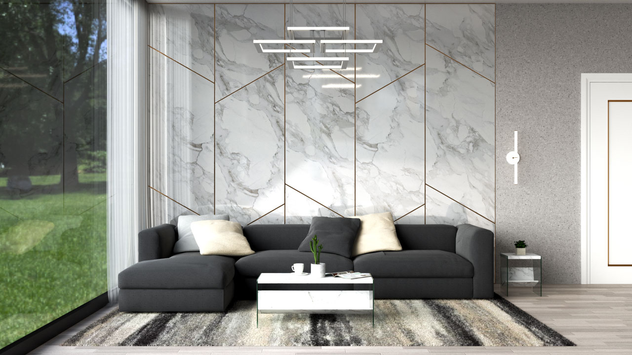 Dark gray sofa with beige throw pillow
