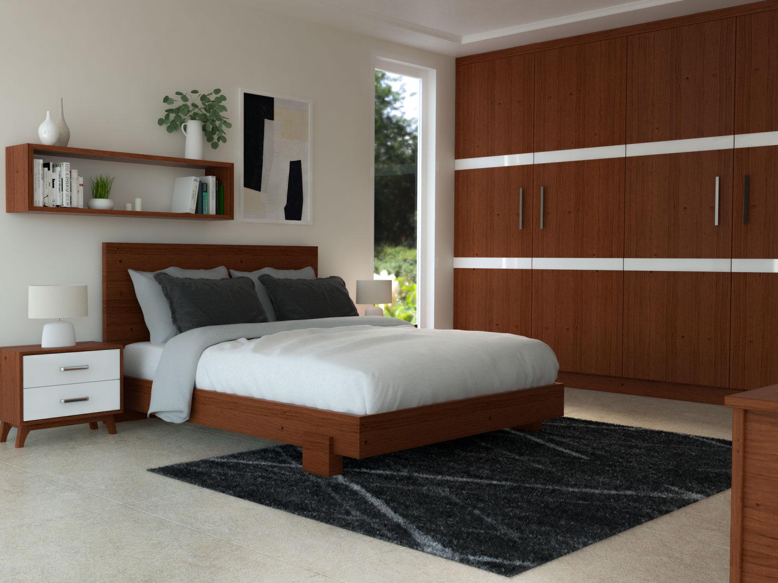 Black rug with cherry furnishings