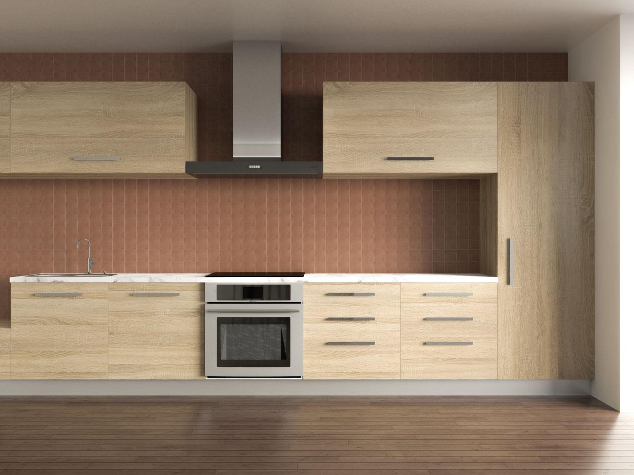 Chinese tea brown backsplash with oak kitchen cabinets
