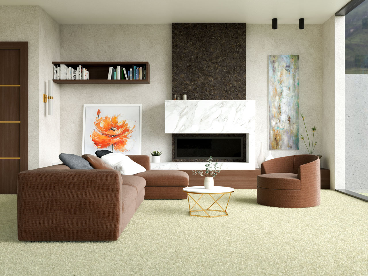 Pale yellow carpet and chocolate brown living room furniture