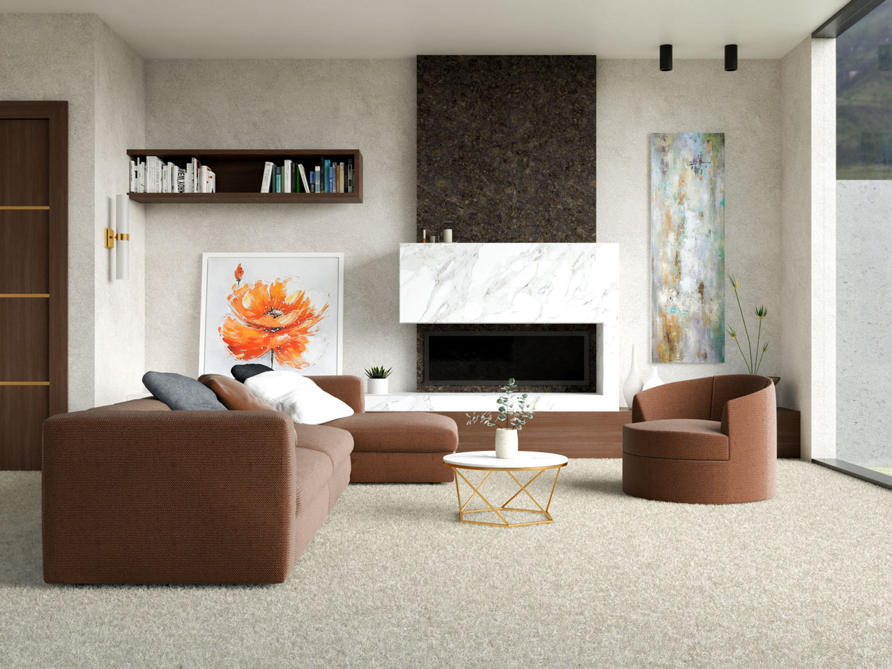 Living room with chocolate brown furniture and beige carpet