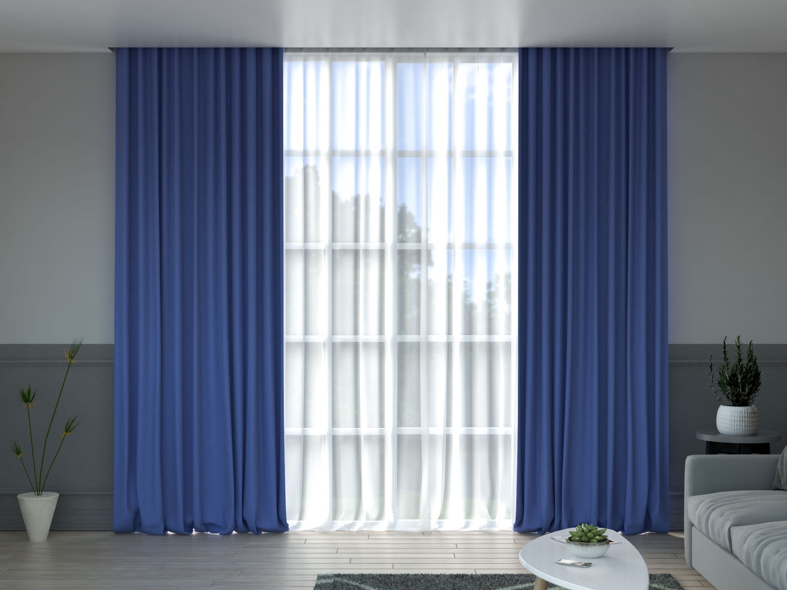 Cobalt blue curtains with gray wall