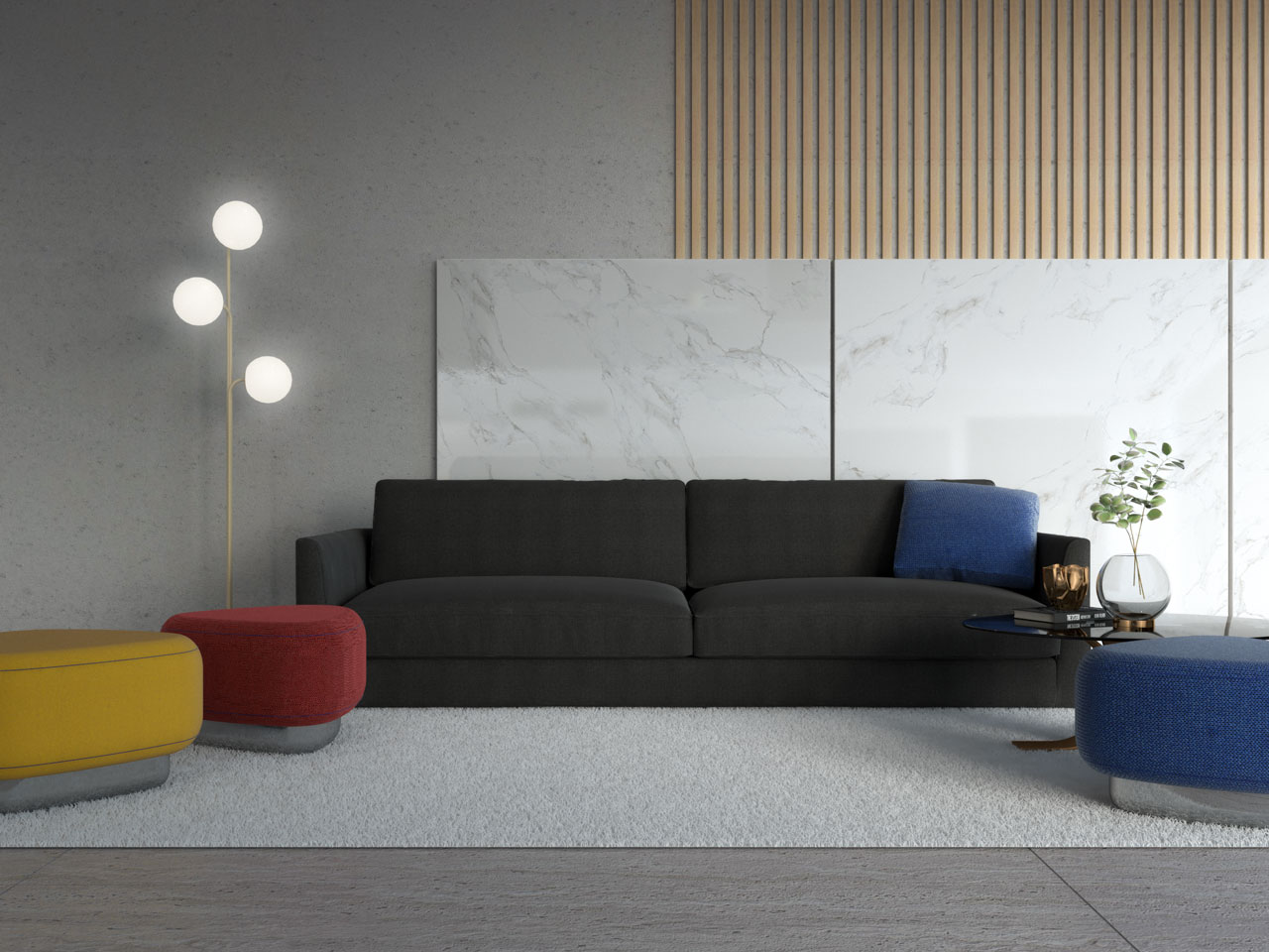 Colorful ottoman around black couch