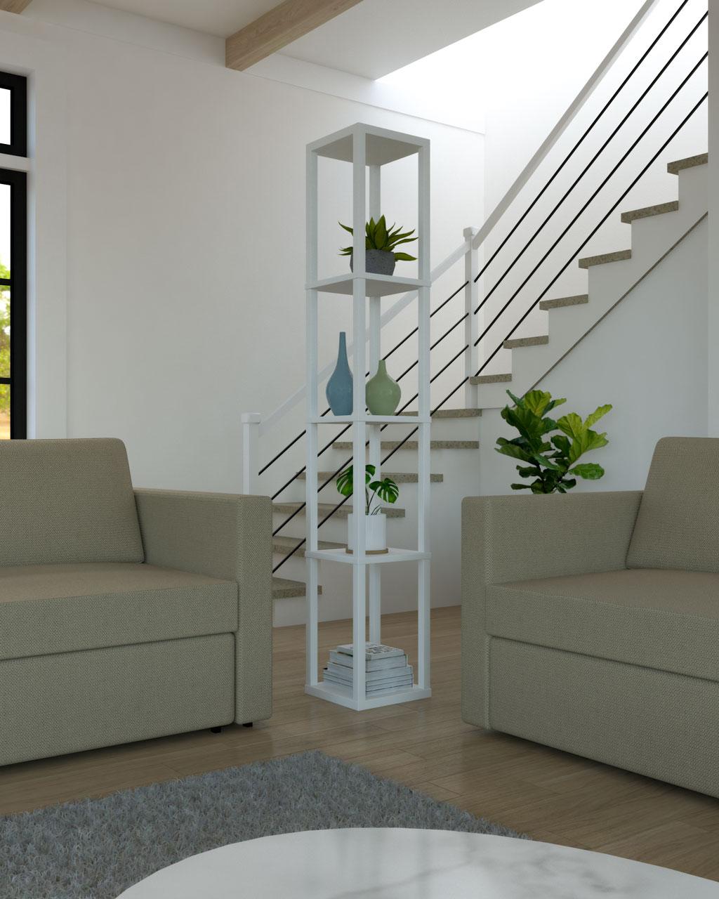 Corner shelves behind sofa