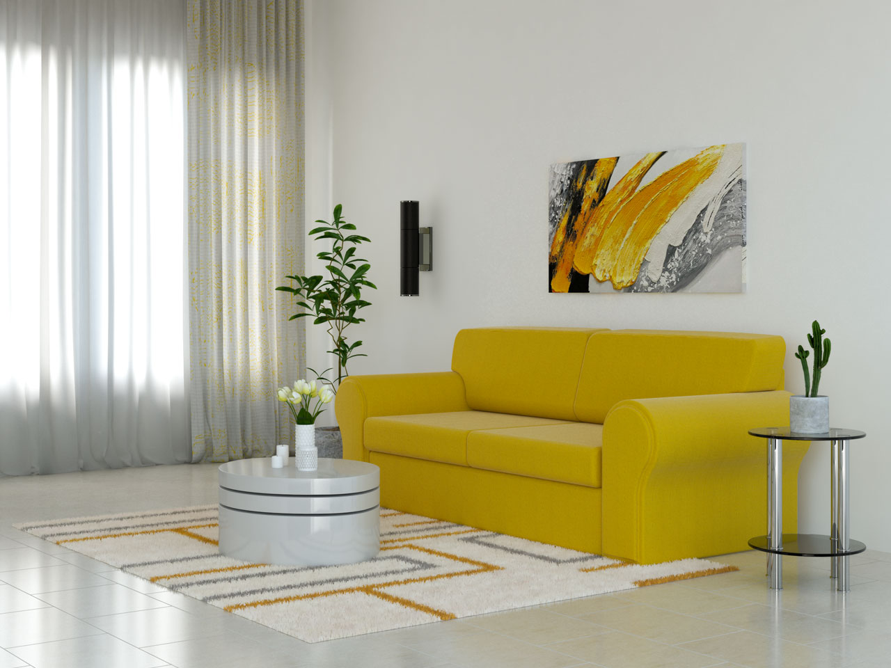 Cream and yellow rug