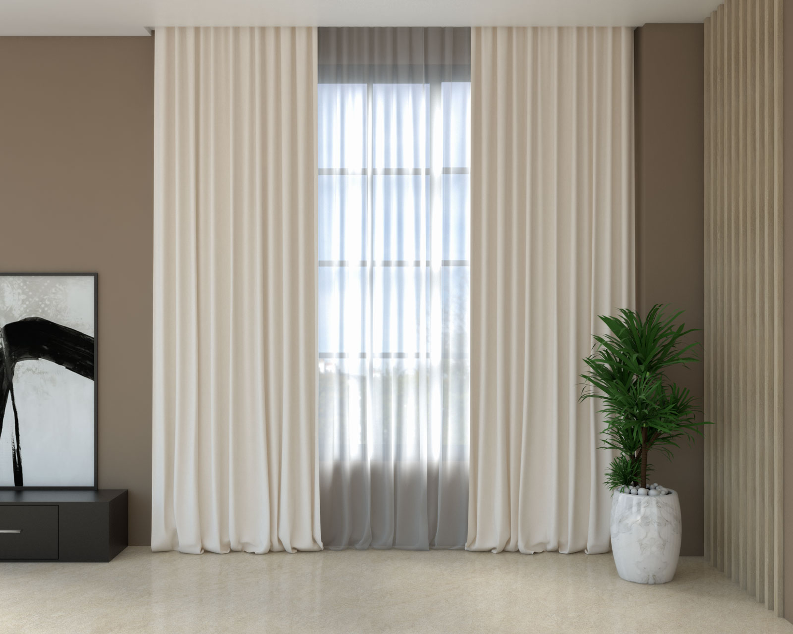 Cream curtains with brown walls