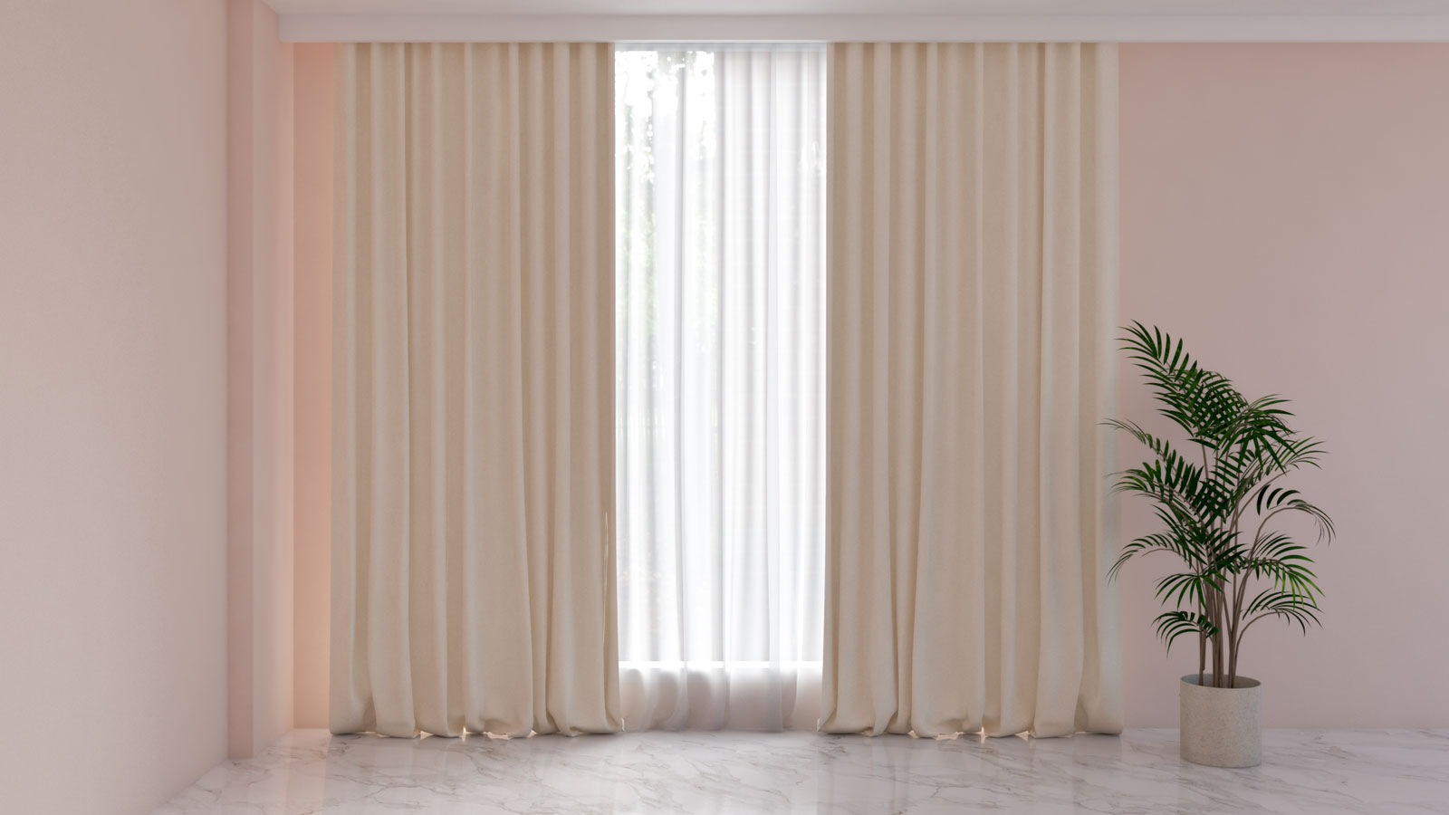 Cream curtains with pink walls
