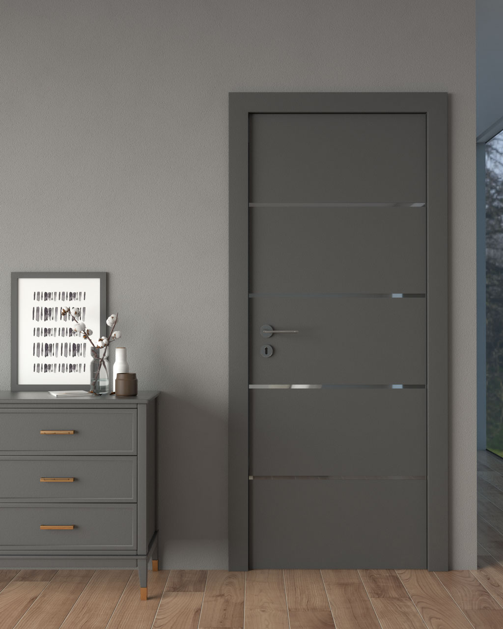 Gray wall with graphite gray door