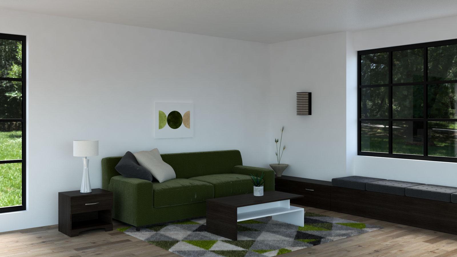 Dark olive couch with espresso furniture