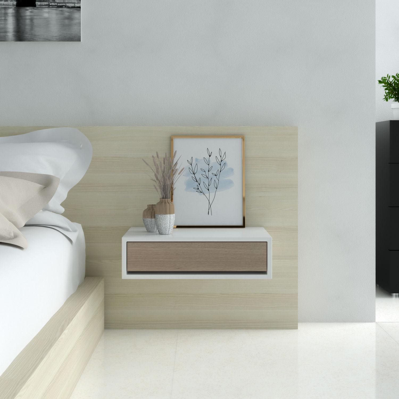 Decorate nightstand using framed artwork
