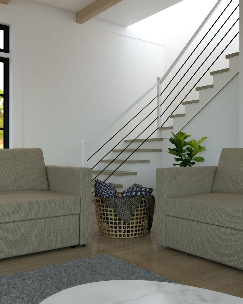 Basket in sofa's corner