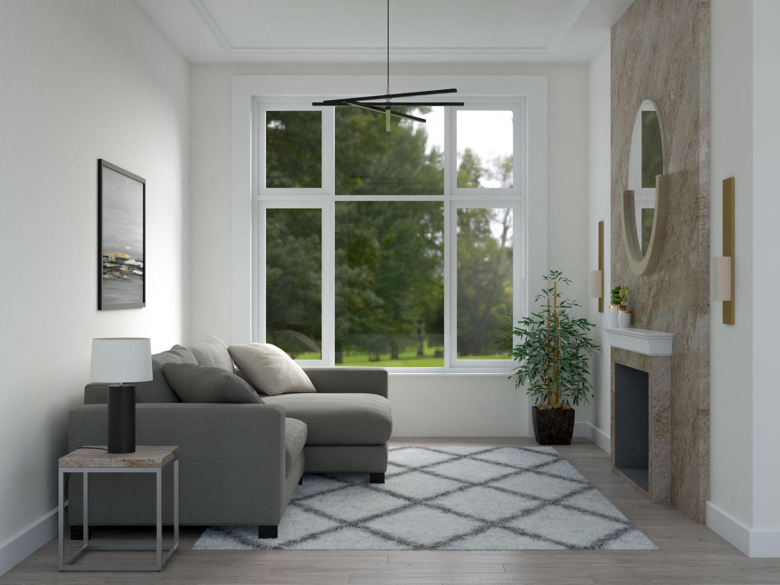 Diamond rug in small living room